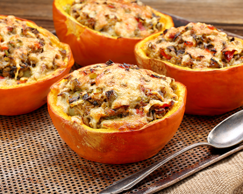 Squash (stuffed) with Stilton & greens