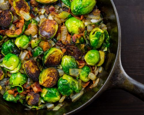 Roasted Brussels Sprout, Mushroom and Kale Salad