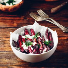 Beetroot Chips and Herb Yoghurt