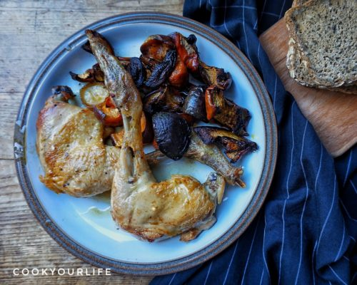Kombucha Roasted Chicken with Roasted Seasonal Vegetables