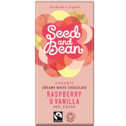 Seed and bean white chocolate with raspberry and vanilla