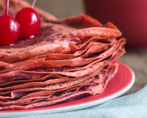 Chocolate and Beetroot Pancakes with Chopped Dates